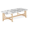 Gus* Modern Quarry Rectangle Coffee Table With Bianca Marble Top and Natural Ash Wood Base