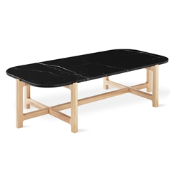 Gus* Modern Quarry Rectangle Coffee Table With Nero Marble Top and Natural Ash Wood Base