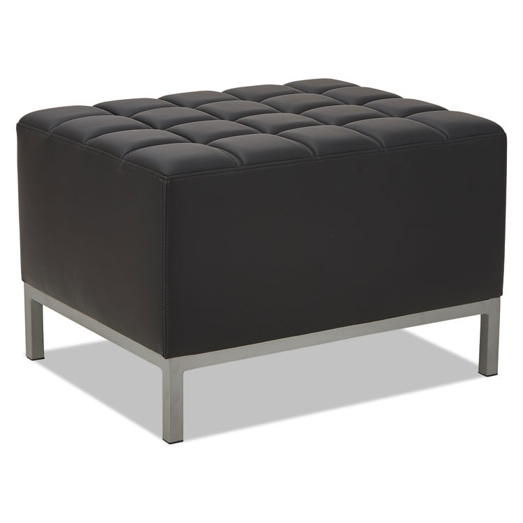 Quest Modern Black Leatherette Ottoman