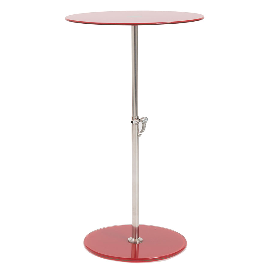 Radinka Adjustable Modern Side Table - Red Glass