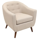 Radbury Cream Button Tufted Fabric + Espresso Stained Wood Modern Lounge Chair