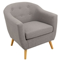 Radbury Light Gray Button Tufted Fabric + Natural Wood Leg Contemporary Arm Chair