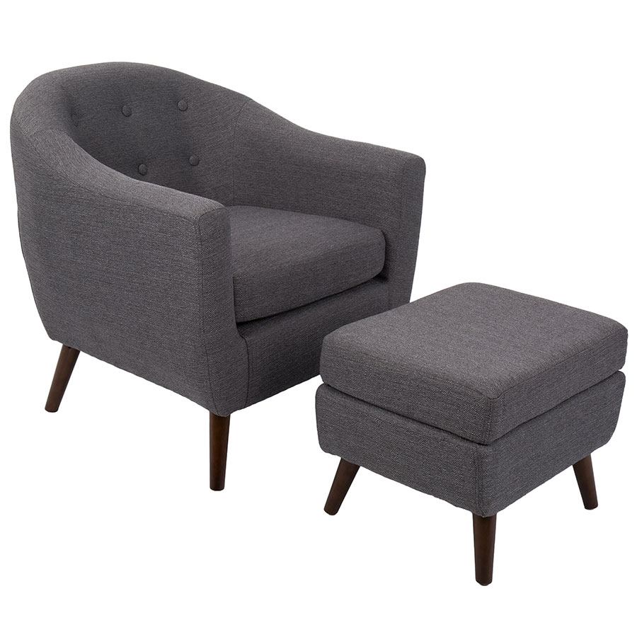 Charmant Call To Order · Radbury Gray Fabric + Espresso Wood Contemporary Lounge  Chair + Ottoman Set