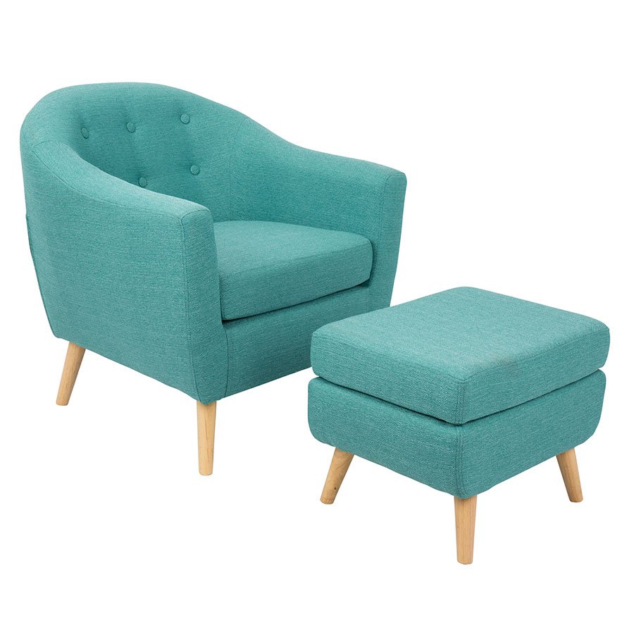 Call To Order · Radbury Teal Button Tufted Fabric + Natural Wood Modern  Lounge Chair + Ottoman Set