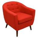 Radbury Red Button Tufted Fabric + Espresso Wood Modern Lounge Chair
