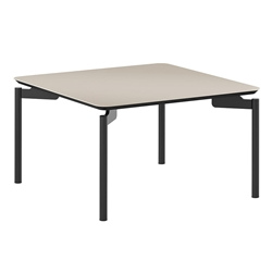 BDi Radius 1730 Black Acid-Etched Tempered Glass + Powder Coated Steel Square Modern Coffee Table