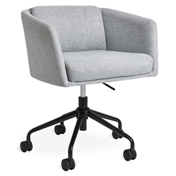 Gus* Modern Radius Modern Office Task Chair in Bayview Silver Fabric with Black Powder Coated Steel Base - With Casters
