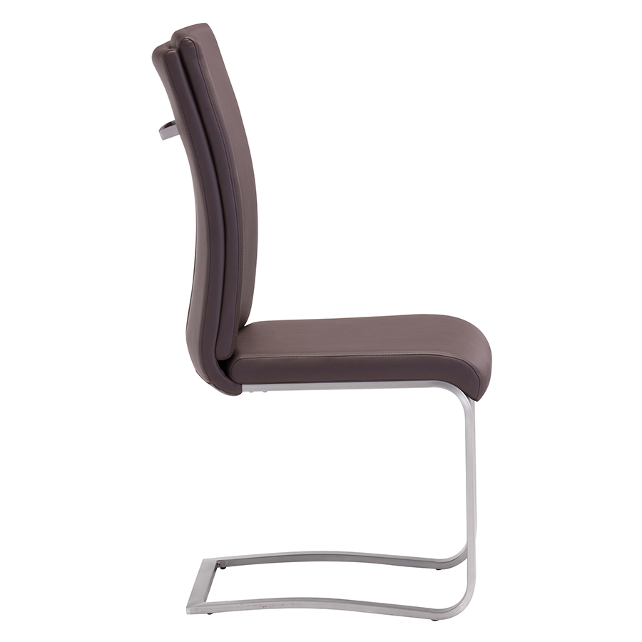 Radka Brown Leatherette + Chrome Modern Dining Chair