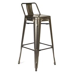 Raleigh Modern Gun Metal Low Back Bar Stool
