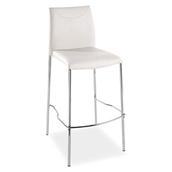Ralls White Leather + Chromed Steel Modern Bar Stool