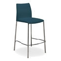 Ralls Blue Leather + Chrome Modern Counter Stool