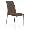 Ralls Taupe Leather + Chromed Steel Modern Dining Side Chair
