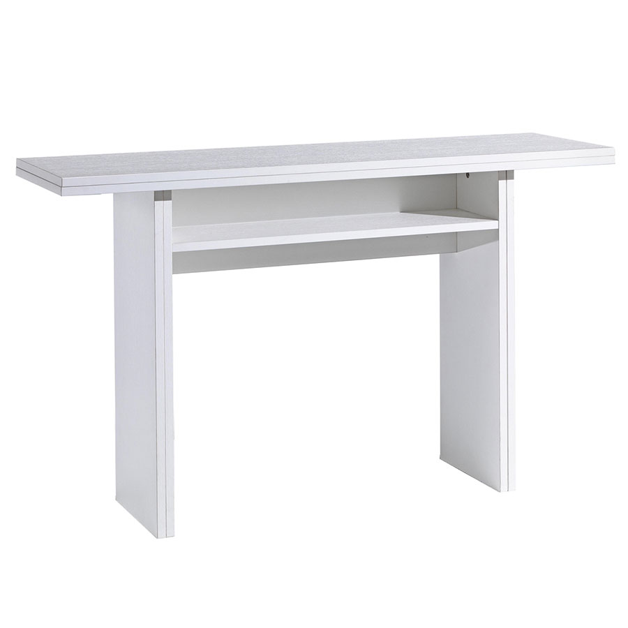 Rancor White Modern Convertible Console + Dining Table