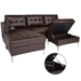 Randall Brown Modern Sectional Sofa with Storage Ottoman Open