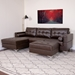 Randall Brown Contemporary Sectional Sofa with Storage Ottoman