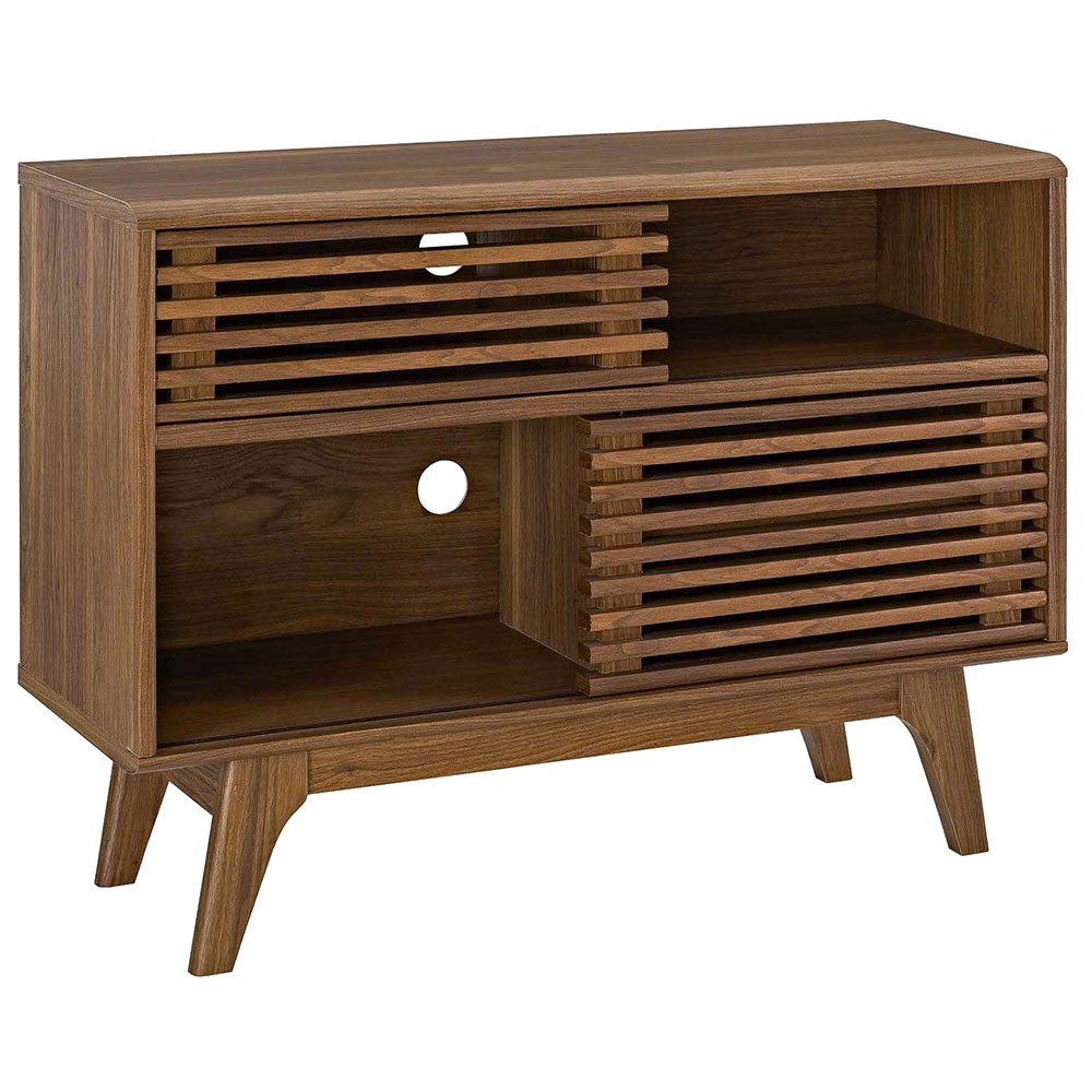 Ravenna Modern Walnut Low Storage Cabinet