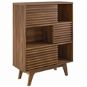 Ravenna Modern Walnut Tall Storage Cabinet