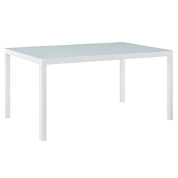 Ravina Modern White Outdoor Glass Top Dining Table