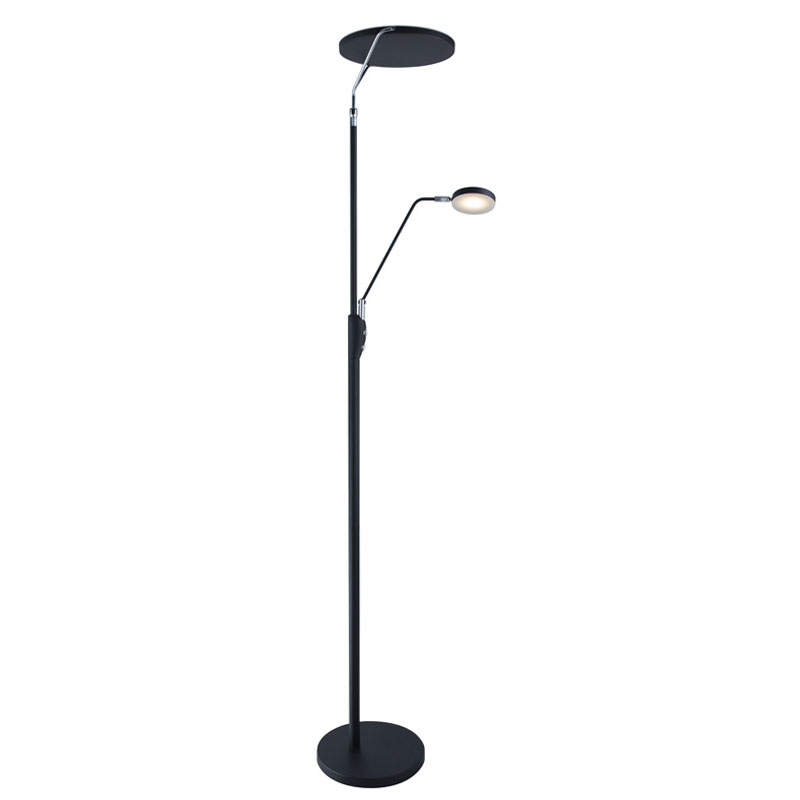 Ray Modern Black Double Torchiere + Reading Floor Lamp