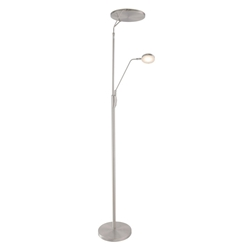 Ray Modern Brushed Double Torchiere + Reading Floor Lamp