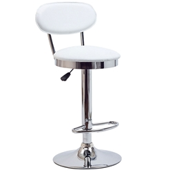 Reagan White Faux Leather + Chrome Modern Adjustable Height Stool