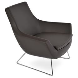 Rebecca Modern Arm Chair - Brown Leather + Chrome Wire Base