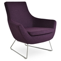 Rebecca Modern Arm Chair Deep Maroon Wool + Chrome Wire Base