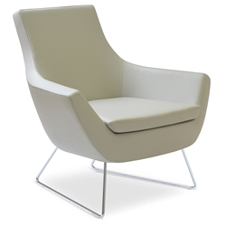 Rebecca Modern Arm Chair Light Gray Leatherette + Chrome Wire Base