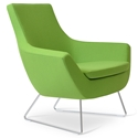 Rebecca Modern Arm Chair Pistachio Wool + Chrome Wire Base