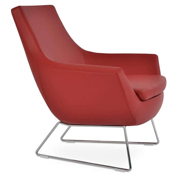 Rebecca Modern Arm Chair Red Leatherette + Chrome Wire Base