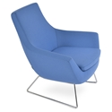 Rebecca Modern Arm Chair Sky Blue Wool + Chrome Wire Base