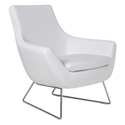 Rebecca Modern Arm Chair White Leatherette + Chrome Wire Base