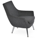 Rebecca Modern Arm Chair Dark Gray Wool + Metal Legs