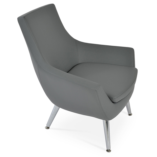 Rebecca Modern Arm Chair Gray Leatherette + Metal Legs