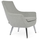 Rebecca Modern Arm Chair Silver Wool + Metal Legs