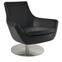 Rebecca Modern Arm Chair Black Leatherette + Swivel Base