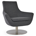 Rebecca Modern Arm Chair Dark Gray Wool + Swivel Base