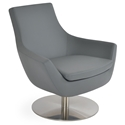 Rebecca Modern Arm Chair Gray Leatherette + Swivel Base