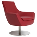 Rebecca Modern Arm Chair Red Leatherette + Swivel Base