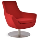 Rebecca Modern Arm Chair Orange Wool + Swivel Base
