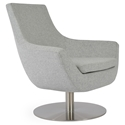 Rebecca Modern Arm Chair Silver Wool + Swivel Base