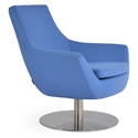 Rebecca Modern Arm Chair Sky Blue Wool + Swivel Base