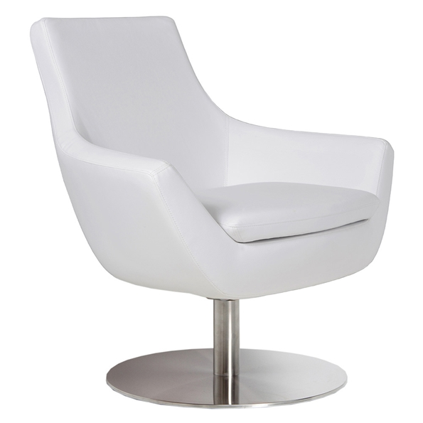 Rebecca Modern Arm Chair White Leatherette + Swivel Base