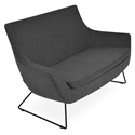 Rebecca Modern Sofa Dark Gray Wool + Black Wire Base