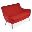 Rebecca Modern Sofa Red Fabric + Metal Legs
