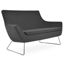 Rebecca Modern Sofa Dark Gray Wool + Wire Base