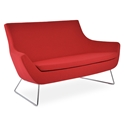 Rebecca Modern Sofa Red Fabric + Wire Base