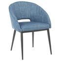 Reeves Modern Dining Chair in Blue + Black