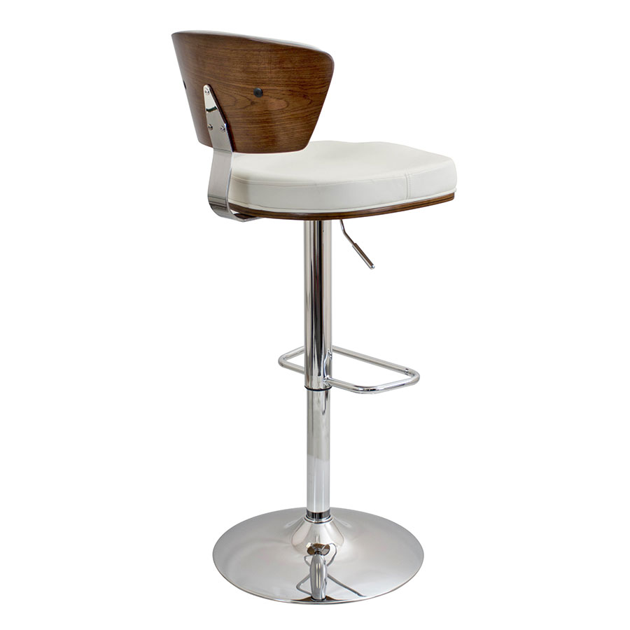 Remy White + Walnut Contemporary Adjustable Stool