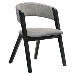 Rennes Modern Grey Fabric + Black Dining Chair